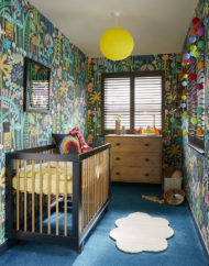 Sophie_Robinson_ IHS_2018_Innovation_home_Baby_Bedroom. LUCYTIFFNEYMr Bear wallpaper