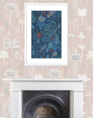 Coral Giclee Print with Fireplace